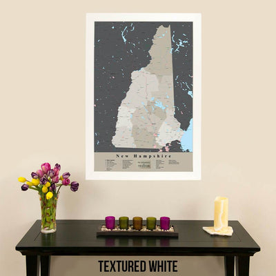Earth Toned New Hampshire State Travel Pin Map Textured White Frame