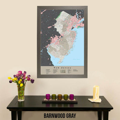 Earth Toned New Jersey State Travelers Map with Pins Barnwood Gray Frame