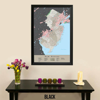 Earth Toned New Jersey State Travelers Map with Pins Black Frame