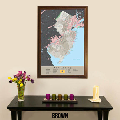 Earth Toned New Jersey State Travelers Map with Pins Brown Frame