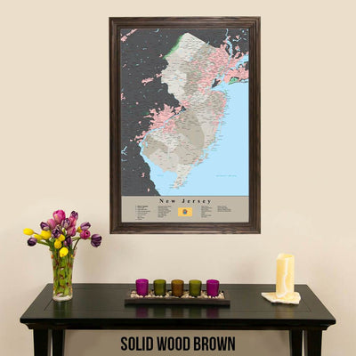 Earth Toned New Jersey State Travelers Map with Pins Solid Wood Brown Frame