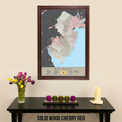 Earth Toned New Jersey State Travelers Map with Pins Solid Wood Cherry Frame