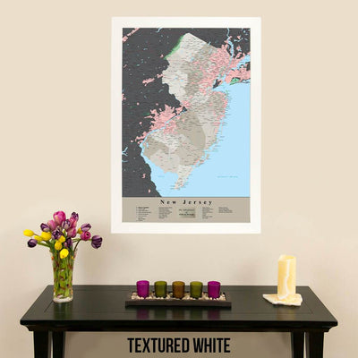 Earth Toned New Jersey State Travelers Map with Pins Textured White Frame