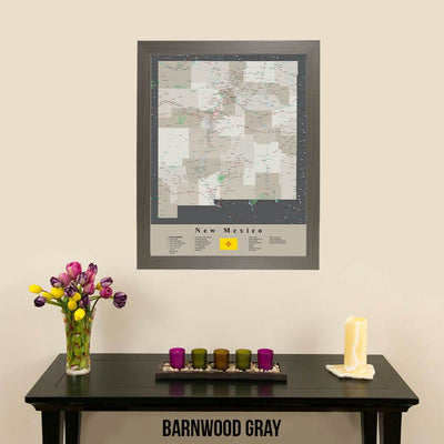 Earth Toned New Mexico Framed Travel Map Barnwood Gray Frame