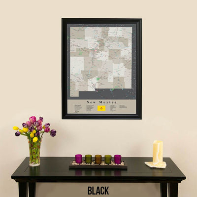 Earth Toned New Mexico Framed Travel Map Black Frame