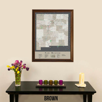 Earth Toned New Mexico Framed Travel Map Brown Frame