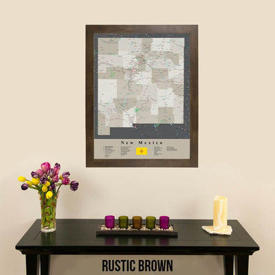 Earth Toned New Mexico Framed Travel Map Rustic Brown Frame