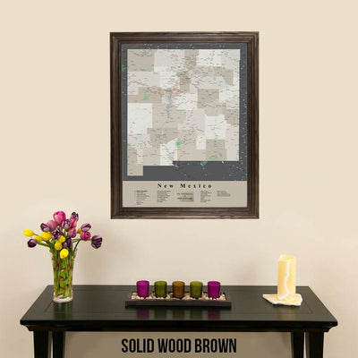 Earth Toned New Mexico Framed Travel Map Solid Wood Brown Frame