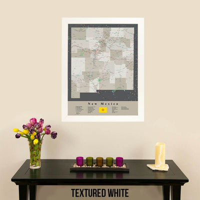 Earth Toned New Mexico Framed Travel Map Textured White Frame