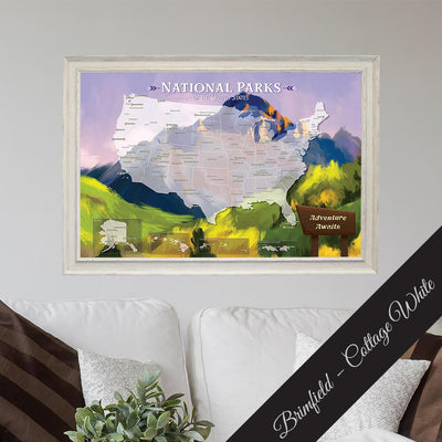 National Parks Watercolor Travel Map - Premium Brimfield Cottage White Frame