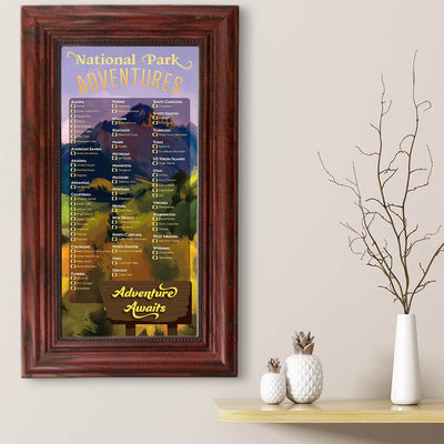 US National Parks Bucket List Solid Wood Cherry Frame