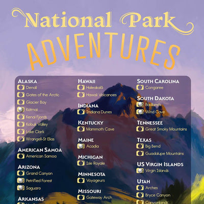US National Parks Bucket List Closeup