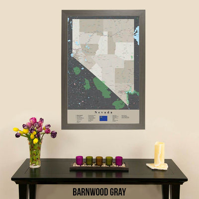 Earth Toned Nevada State Travel Map Barnwood Gray Frame
