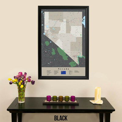 Earth Toned Nevada State Travel Map Black Frame