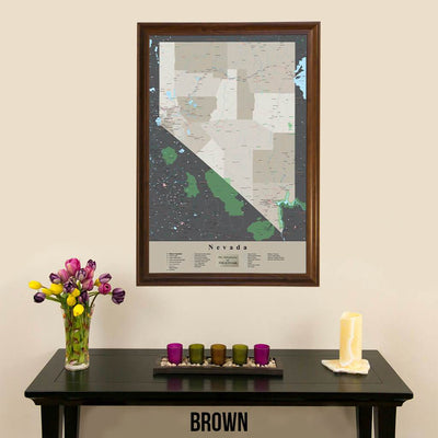 Earth Toned Nevada State Travel Map Brown Frame