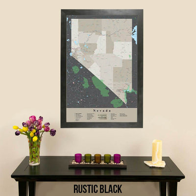 Earth Toned Nevada State Travel Map Rustic Black Frame