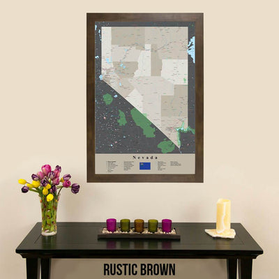 Earth Toned Nevada State Travel Map Rustic Brown Frame