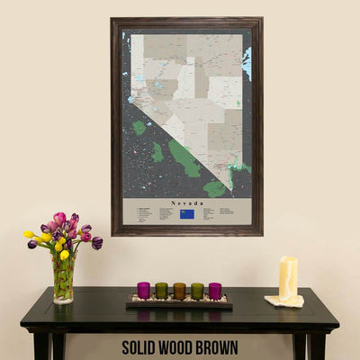 Earth Toned Nevada State Travel Map Solid Wood Brown Frame
