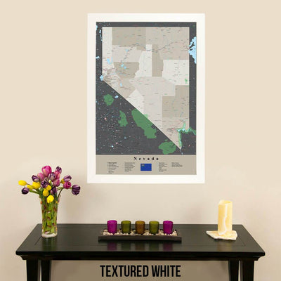 Earth Toned Nevada State Travel Map Textured White Frame
