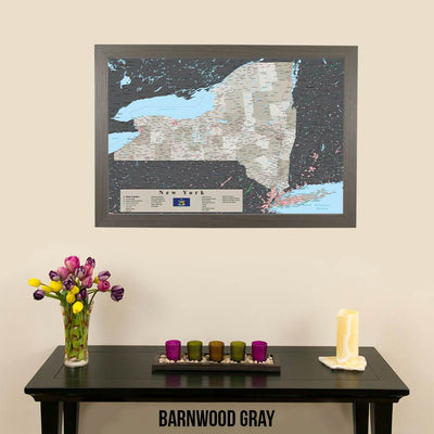 Earth Toned New York State Map Barnwood Gray Frame