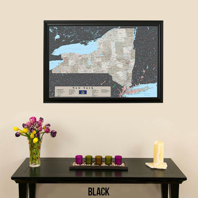 Earth Toned New York State Map Black Frame