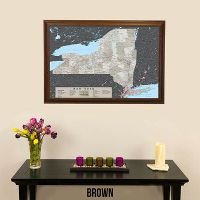 Earth Toned New York State Map Brown Frame