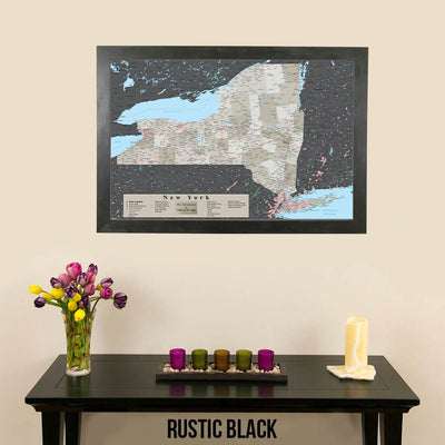 Earth Toned New York State Map Rustic Black Frame