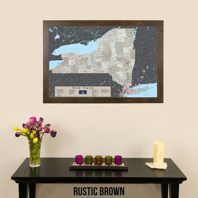 Earth Toned New York State Map Rustic Brown Frame
