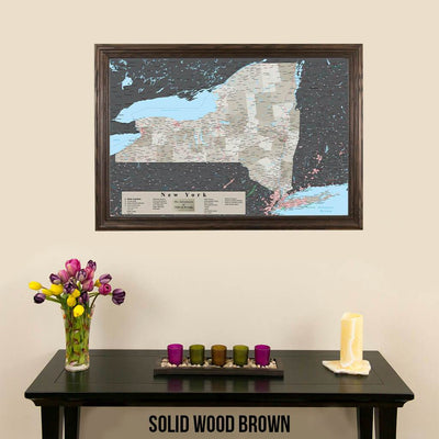 Earth Toned New York State Map Solid Wood Brown Frame