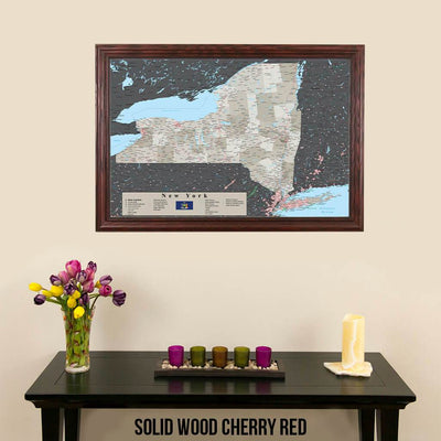 Earth Toned New York State Map Solid Wood Cherry Frame