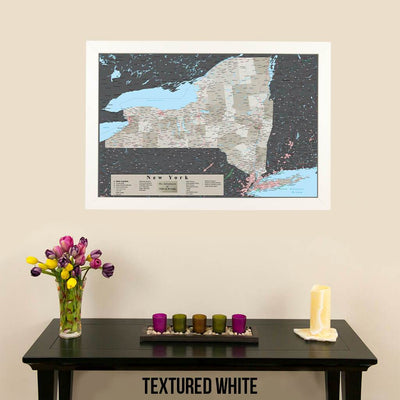 Earth Toned New York State Map Textured White Frame