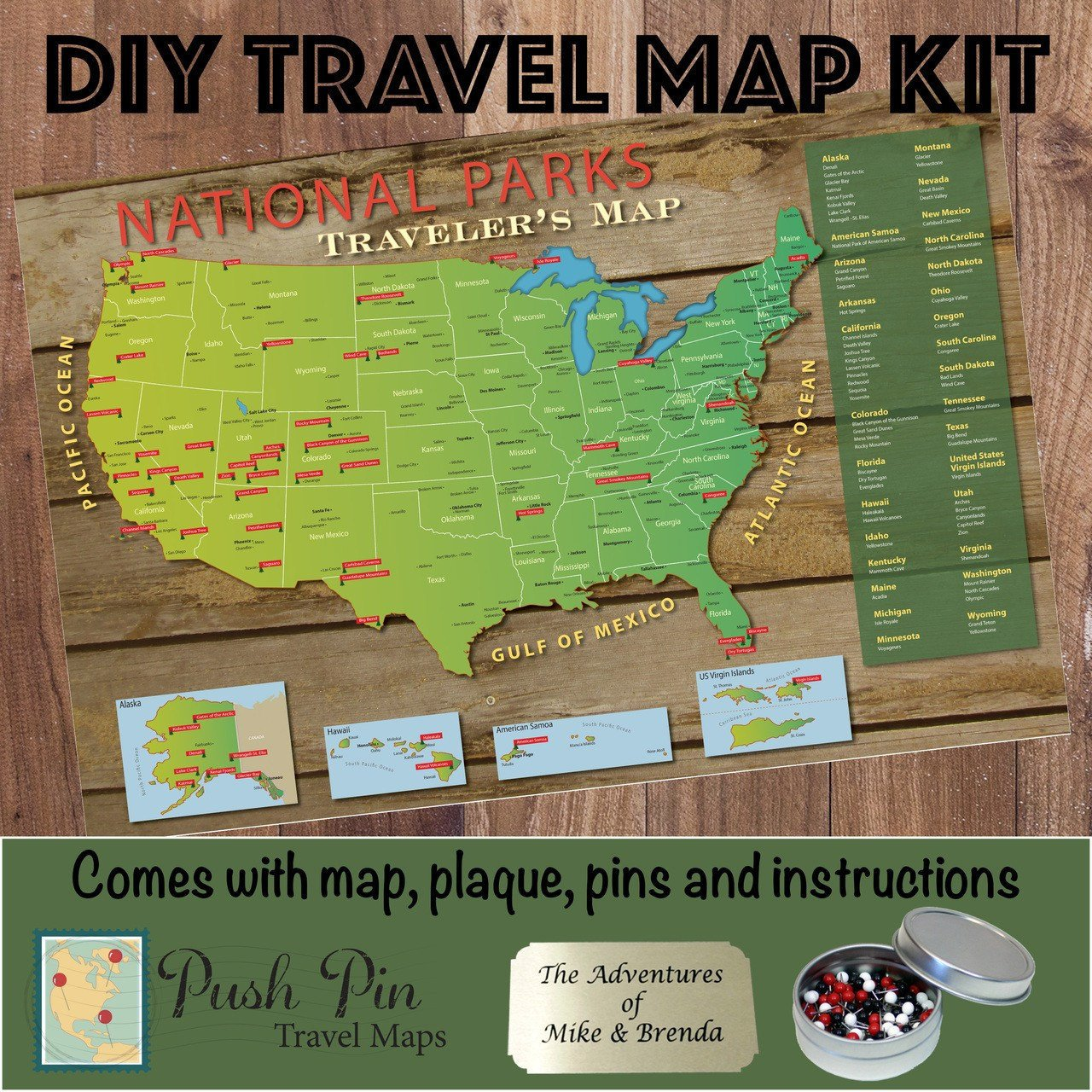 DIY US National Parks Push Pin Travel Map Kit Push Pin Travel Maps – Travel Map Of Us