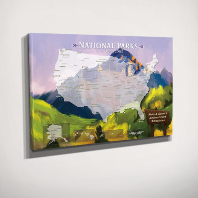 Watercolor National Parks Map - Gallery Wrapped