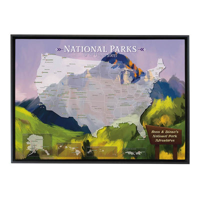 Gallery Wrapped Watercolor National Parks Map in Black Float Frame
