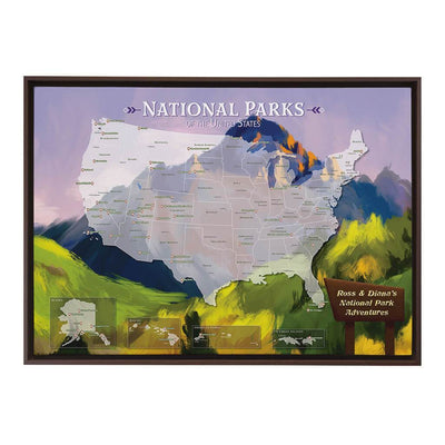 Gallery Wrapped Watercolor National Parks Map in Brown Float Frame