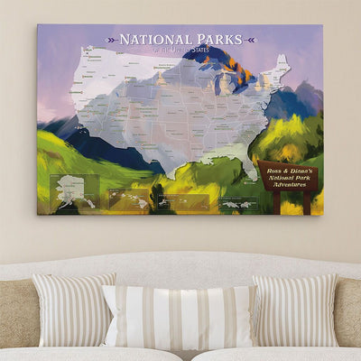 30x45 Gallery Wrapped Watercolor National Parks Map