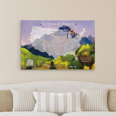 Gallery Wrapped - National Parks Watercolor Travel Map with pins