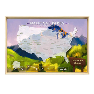 Gallery Wrapped Watercolor National Parks Map in Natural Float Frame