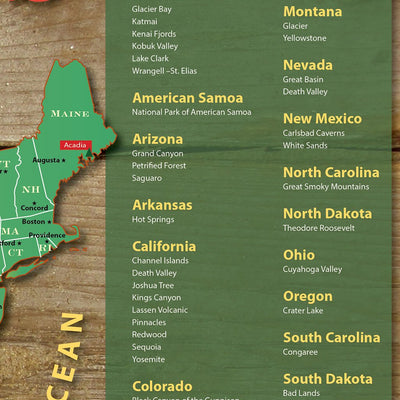 Close Up - National Parks Push Pin Map