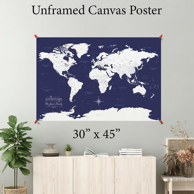 Navy Explorer World Canvas Poster 30 x 45