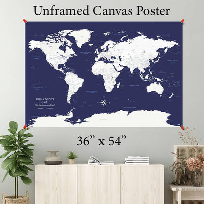 Navy Explorer World Canvas Poster 36 x 54