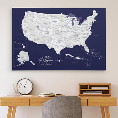 30x45 Gallery Wrapped Canvas Navy Explorers USA & Caribbean Map