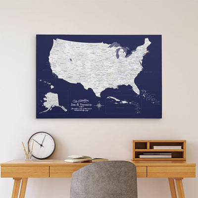 24x36 Gallery Wrapped Canvas Navy Explorers USA & Caribbean Map