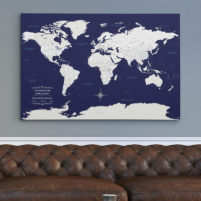 30x45 Gallery Wrapped Canvas Navy Explorers World Map