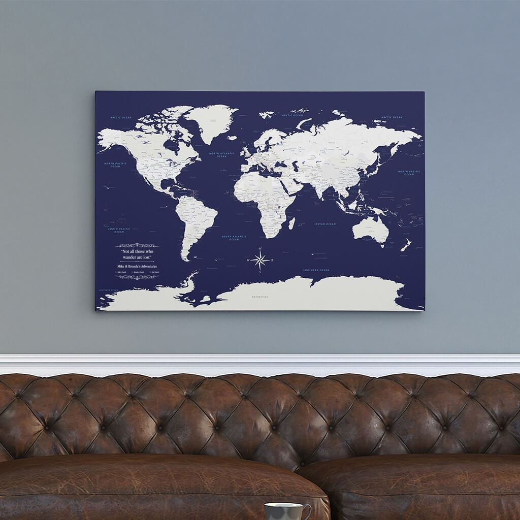24x36 Gallery Wrapped Canvas Navy Explorers World Map