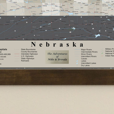 Earth Toned Nebraska State Push Pin Travel Map plaque location