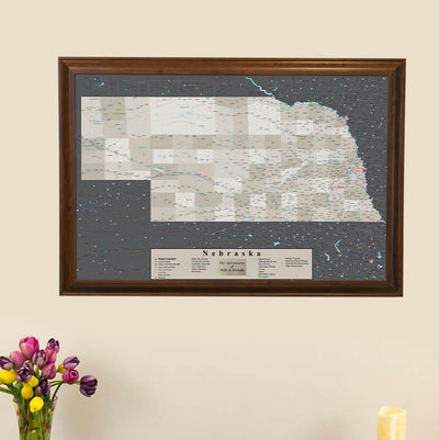 Earth Toned Nebraska State Push Pin Travel Map main picture