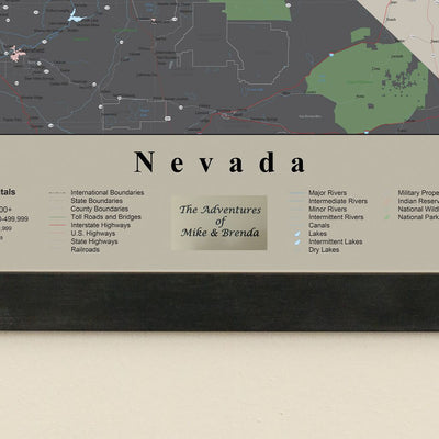 Earth Toned Nevada State Travel Map Plaque Location