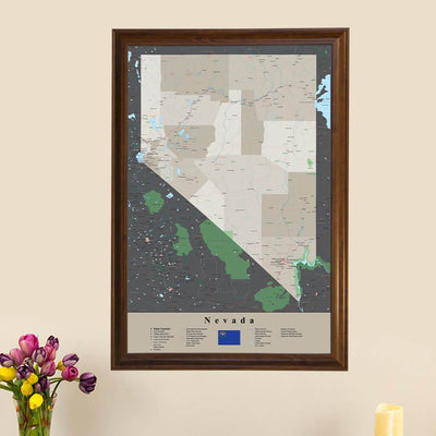 Earth Toned Nevada State Travel Map main picture