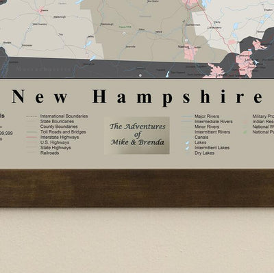 Earth Toned New Hampshire State Travel Pin Map Plaque Location